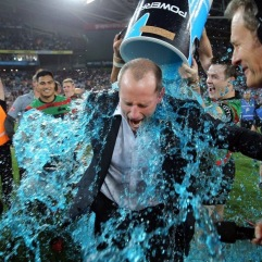 Souths coach Michael Maguire gets the Powerade treatment.