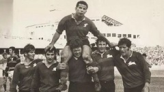 Souths captain John Sattler being carried from the field after winning the 1970 Grand Final, a game he played with a badly broken jaw.