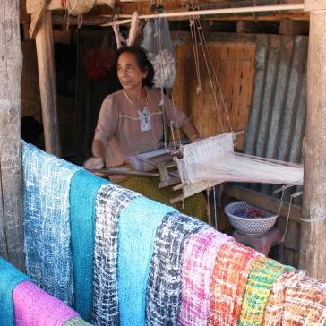 Scarf making at Ban Xang Hai, aka the Whisky Village