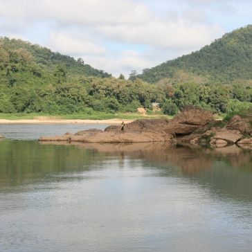 The mouth of the Nam Khan River flowing into the Mekong