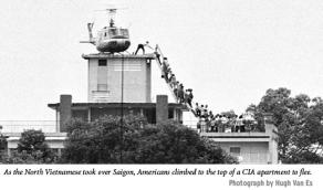 Photograph taken by Hugh Van Es of Americans fleeing Saigon as the North Vietnamese Army rolls in.