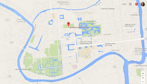 Ayutthaya historical site map