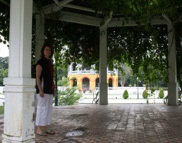 Heidi enjoying the serenity at Bang Pa In Palace