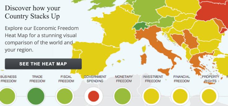 Index of Economic Freedom Heat Map